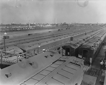 2010.030.PC28.02--lee hastman collection 8x10 print--ICRR--Co Photo view of coachyard with trains for the Century of Progress Fair--Chicago IL--1933 0000