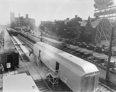 2010.030.PC28.04--lee hastman collection 8x10 print--ICRR--Co Photo view of coachyard with shower car for the Century of Progress Fair--Chicago IL--1933 0000