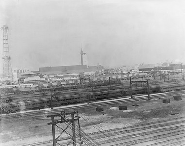 2010.030.PC05.24--lee hastman collection 8x10 print--ICRR--Co Photo view of Century of Progress Fair from Weldon Yard looking east-southeast--Chicago IL--c1933 0000