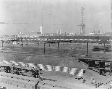2010.030.PC05.23--lee hastman collection 8x10 print--ICRR--Co Photo view of Century of Progress Fair from Weldon Yard looking east--Chicago IL--c1933 0000
