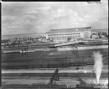 2010.030.PC05.25--lee hastman collection 8x10 print--ICRR--Co Photo view of Soldier Field from Weldon Yard looking east--Chicago IL--no date