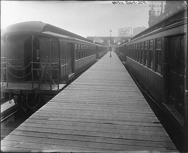2010.030.PC05.09--lee hastman collection 8x10 print--ICRR--Co Photo view of open platform cars at 12th Street commuter passenger platform--Chicago IL--no date