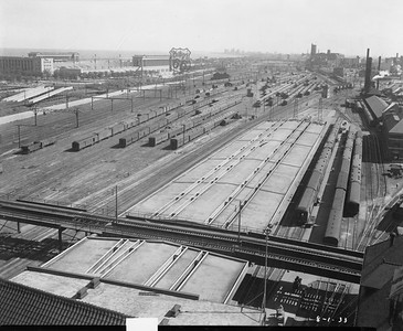 2010.030.PC05.15--lee hastman collection 8x10 print--ICRR--Co Photo view of new platform canopy from Central Station looking south-southeast--Chicago IL--1933 0801