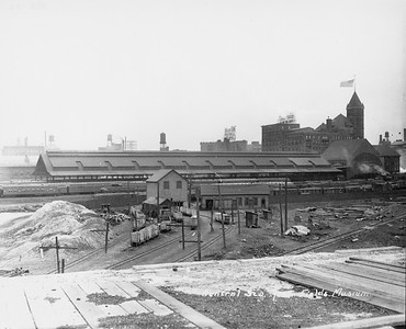 2010.030.PC05.12--lee hastman collection 8x10 print--ICRR--Co Photo view of Central Station at 12th Street looking west from Field Museum site--Chicago IL--no date