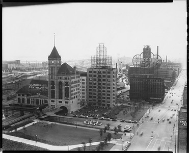 2010.030.PC05.04--lee hastman collection 8x10 print--ICRR--Co Photo view of Central Station at 12th Street looking south-southeast--Chicago IL--no date