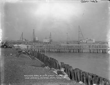 2010.030.PC07.04--lee hastman collection 8x10 print--ICRR--Co Photo view of bulkhead work on Lake Michigan at 27th Street looking north--Chicago IL--1897 1116