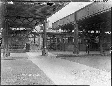 2010.030.PC07.33--lee hastman collection 8x10 print--ICRR--Co Photo view of commuter passenger station at street level at 60th Street--Chicago IL--1896 0714