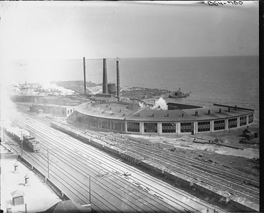 2010.030.PC07.07--lee hastman collection 8x10 print--ICRR--Co Photo view of roundhouses at 27th Street looking north--Chicago IL--no date