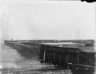 2010.030.PC07.03--lee hastman collection 8x10 print--ICRR--Co Photo view of bulkhead work on Lake Michigan at 27th Street--Chicago IL--1897 1116
