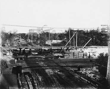 2010.030.PC07.31--lee hastman collection 8x10 print--ICRR--Co Photo view of track elevation construction at 57th Street--Chicago IL--1892 0000
