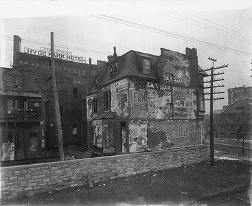 2010.030.PC07.28--lee hastman collection 8x10 print--ICRR--Co Photo view of old buildings at 55th Street--Hyde Park IL--no date