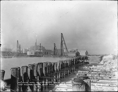 2010.030.PC07.05--lee hastman collection 8x10 print--ICRR--Co Photo view of bulkhead work on Lake Michigan at 27th Street looking north--Chicago IL--1897 1116