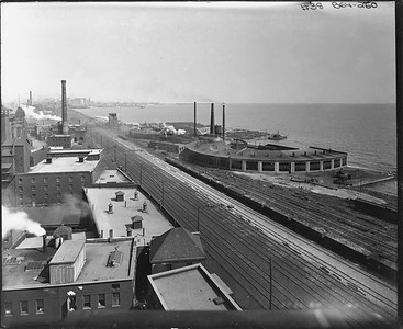 2010.030.PC07.06--lee hastman collection 8x10 print--ICRR--Co Photo view of roundhouses at 27th Street looking north--Chicago IL--no date