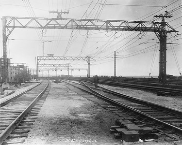 2010.030.PC07.26--lee hastman collection 8x10 print--ICRR--Co Photo view of tracks and catenary at 50th Street looking north--Chicago IL--1926 0900
