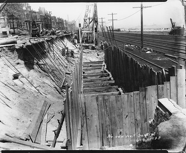 2010.030.PC07.09B--lee hastman collection 8x10 print--ICRR--Co Photo view of retaining wall constructions at 31st Street--Chicago IL--1923 0604