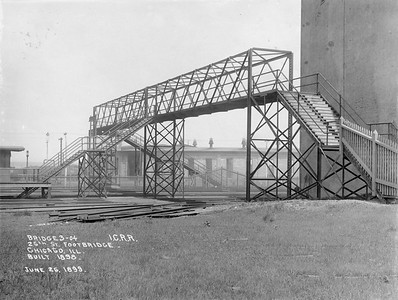 2010.030.PC07.02--lee hastman collection 8x10 print--ICRR--Co Photo view of footbridge over mainline at 26th Street--Chicago IL--1899 0626