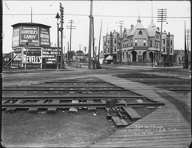 2010.030.PC12.01--lee hastman collection 8x10 print--ICRR--Co Photo view of grade crossing at 75th Street--Grand Crossing IL--1902 0626