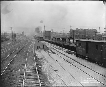 2010.030.PC12.08--lee hastman collection 8x10 print--ICRR--Co Photo view of commuter station platform--Grand Crossing IL--1907 0622