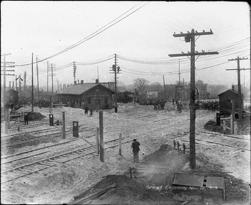 2010.030.PC12.06--lee hastman collection 8x10 print--ICRR--Co Photo view of depot and crossing--Grand Crossing IL--1906 1120