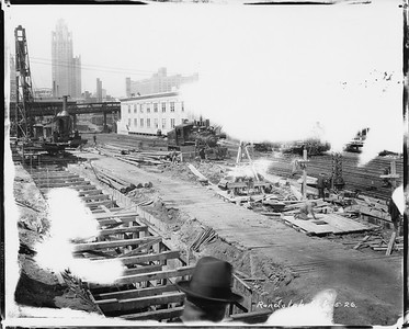2010.030.PC03.21--lee hastman collection 8x10 print--ICRR--Co Photo view of construction at Randolph Street station--Chicago IL--1926 0605