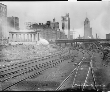 2010.030.PC03.20--lee hastman collection 8x10 print--ICRR--Co Photo view of construction at Randolph Street station--Chicago IL--1926 0426