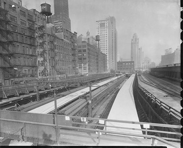 2010.030.PC03.12--lee hastman collection 8x10 print--ICRR--Co Photo view of Randolph Street station after 1925--Chicago IL--no date