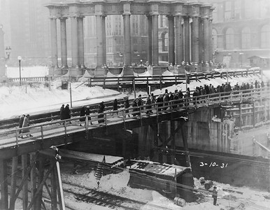 2010.030.PC03.18A--lee hastman collection 8x10 print--ICRR--Co Photo view of pedestrian walkway over tracks and construction at Randolph Street--Chicago IL--1931 0310