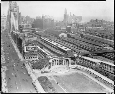 2010.030.PC03.23--lee hastman collection 8x10 print--ICRR--Co Photo view from Michigan Ave of Randolph Street station--Chicago IL--1930 0900