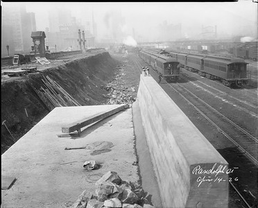 2010.030.PC03.24--lee hastman collection 8x10 print--ICRR--Co Photo view of construction south of Randolph Street station--Chicago IL--1926 0414