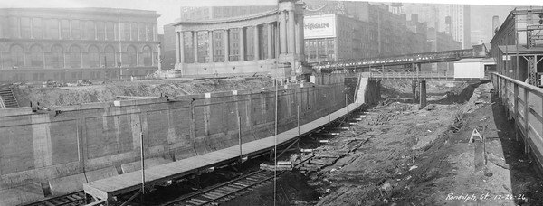 2010.030.PC03.19--lee hastman collection 8x10 print--ICRR--Co Photo view of construction at Randolph Street station--Chicago IL--1926 1226