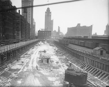 2010.030.PC03.13--lee hastman collection 8x10 print--ICRR--Co Photo view of construction at Randolph Street station--Chicago IL--no date