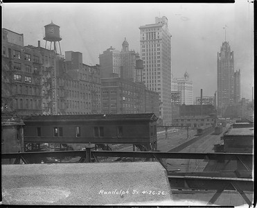 2010.030.PC03.17--lee hastman collection 8x10 print--ICRR--Co Photo view of construction at Randolph Street station--Chicago IL--1926 0426
