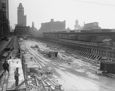2010.030.PC03.14--lee hastman collection 8x10 print--ICRR--Co Photo view of construction at Randolph Street station--Chicago IL--no date