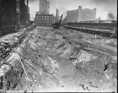 2010.030.PC03.12A--lee hastman collection 8x10 print--ICRR--Co Photo view of excavation construction at Randolph Street station--Chicago IL--1926 1014