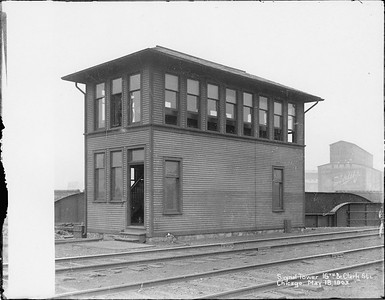 2010.030.PC06.03--lee hastman collection 8x10 print--ICRR--Co Photo view of 16th Street interlocking tower on St Charles Airline--Chicago IL--1903 0518