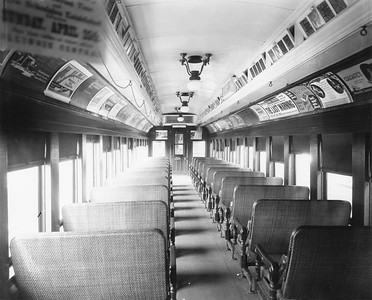 2010.030.PC22.13--lee hastman collection 8x10 print--ICRR--Co Photo view of wooden commuter coach 1216 interior--Chicago IL--no date