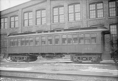 2010.030.PC22.07A--lee hastman collection 8x10 print--ICRR--Co Photo view of wooden commuter coach 1054--Chicago IL--no date