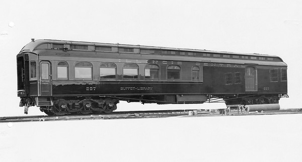 2010.030.PC22.18--lee hastman collection 8x10 print--ICRR--Co Photo view of buffet-library car 297--builders photo--no date