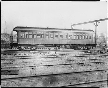 2010.030.PC22.09--lee hastman collection 8x10 print--ICRR--Co Photo view of wooden commuter coach 1168 at 22nd Street--Chicago IL--no date