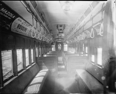 2010.030.PC22.10--lee hastman collection 8x10 print--ICRR--Co Photo view of wooden commuter coach 1168 interior--Chicago IL--no date
