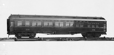 2010.030.PC22.32--lee hastman collection 8x10 print--ICRR--Co Photo view of wooden coach 775--builders photo--no date