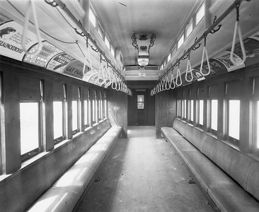 2010.030.PC22.04--lee hastman collection 8x10 print--ICRR--Co Photo view of wooden commuter combine 980 interior--Chicago IL--no date