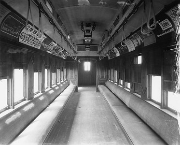 2010.030.PC22.02--lee hastman collection 8x10 print--ICRR--Co Photo view of wooden commuter combine 979 interior--Chicago IL--no date