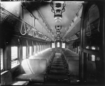2010.030.PC22.12--lee hastman collection 8x10 print--ICRR--Co Photo view of wooden commuter coach 1213 interior--Chicago IL--no date