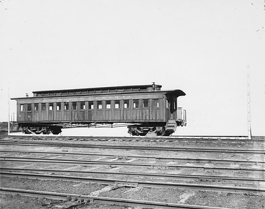 2010.030.PC22.16--lee hastman collection 8x10 print--ICRR--Co Photo view of old wooden coach 37 at Weldon yard--Chicago IL--no date
