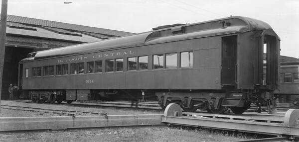 2010.030.PC22.14H--lee hastman collection 8x10 print--ICRR--Co Photo view of steel coach chair car 3648 at Burnside shops--Chicago IL--no date