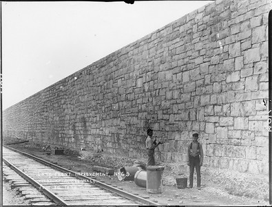 2010.030.PC01.26B--lee hastman collection 8x10 print--ICRR--Co Photo view of Lake Front Improvement west retaining wall--Chicago IL--1894 0630
