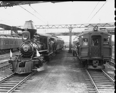 2010.030.PC20.028--lee hastman collection 8x10 print--ICRR--Co Photo view of steam locomotive 2-4-4T 1401 posing with electric commuter coach--Chicago IL--no date