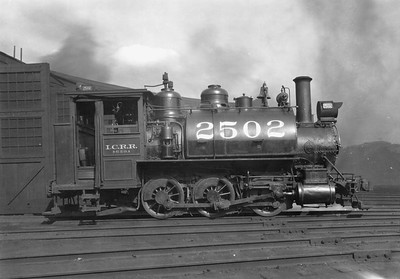 2010.030.PC20.045--lee hastman collection 8x10 print--ICRR--Co Photo view of steam locomotive 0-6-0 2502 at roundhouse--location unknown--no date