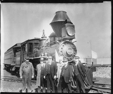 2010.030.PC20.027--lee hastman collection 8x10 print--ICRR--Co Photo view of steam locomotive 2-4-4T 1401 with passenger car and crew--Chicago IL--no date